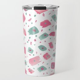 Hand painted pink pastel green watercolor brushstrokes confetti Travel Mug