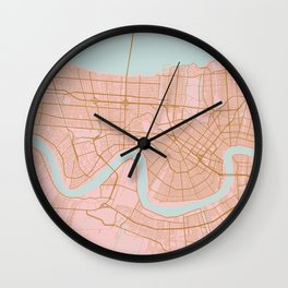 New Orleans map, Lousiana Wall Clock