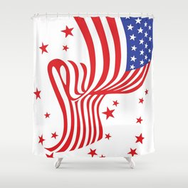 AMERICAN FLAG  & RED STARS JULY 4TH ART Shower Curtain