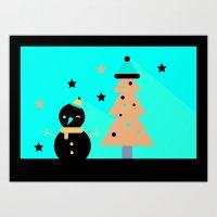 Mr Snowman & Mr Tree Art Print
