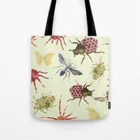 insects Tote Bags featuring Insects by Stag Prints