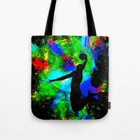 kobe Tote Bags featuring Slam Dunk by Saundra Myles
