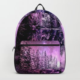 A Cold Winter's Night : Purple Lavender Winter Wonderland Backpack
