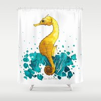 sea horse Shower Curtains featuring Sea Horse by Lore Illustration