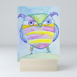 Striped Owl Cute Watercolor Painting by Garden Of Delights Mini Art Print