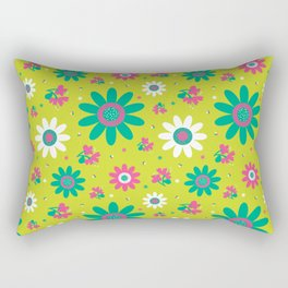 Retro Fall 60's Sunflower Floral in Lime Green Rectangular Pillow