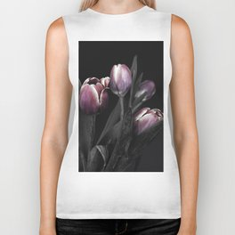 Tulips on black Biker Tank