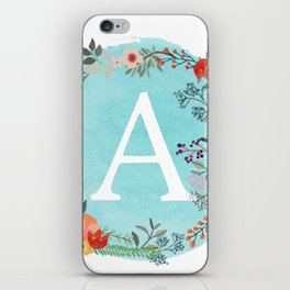 Personalized Monogram Initial Letter A Blue Watercolor Flower Wreath Artwork iPhone Skin