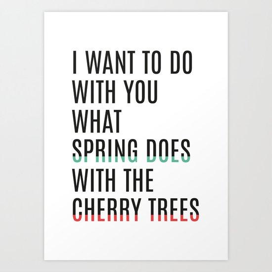Spring & cherry trees Art Print
