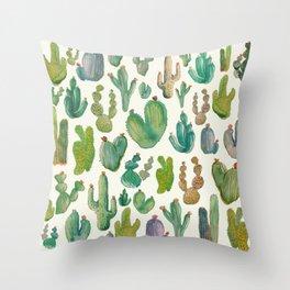 Summer Watercolor Cactus Throw Pillow