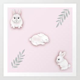 Bunnies and Leaves Art Print