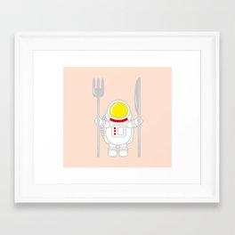 Space Odyssey | Astronaut Eats | Space Utensils | Galaxy Fork and Knife | pulps of wood Framed Art Print