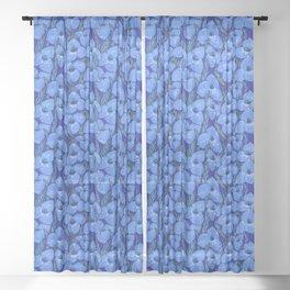 Cornflower Blue Puya Flowers Botanical Floral Pattern Sheer Curtain