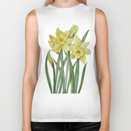 Watercolor Daffodils Botanical Illustration Biker Tank