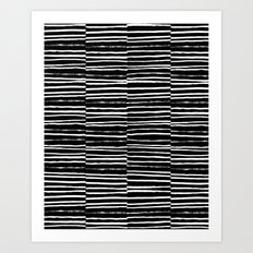 Paint brush free spirit pattern boho minimal black and white modern art abstract painting urban deco Art Print