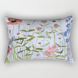 Wildflower Botanical Garden Flower Blue Skies Watercolor Rectangular Pillow