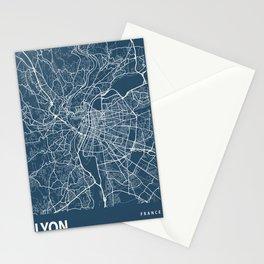 Lyon Blueprint Street Map, Lyon Colour Map Prints Stationery Cards