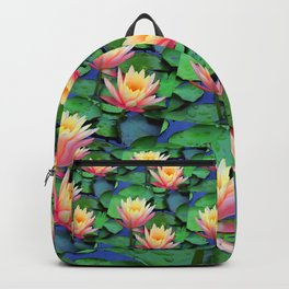 Fractal Flowing Water Lilies Backpack