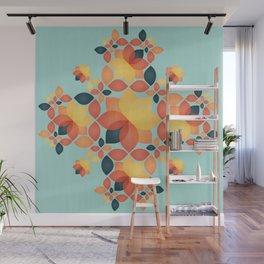 Orange Garden Pattern Wall Mural