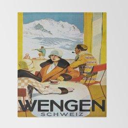 Vintage Wengen Switzerland Travel Throw Blanket