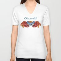 crab V-neck T-shirts featuring Oh, Crab! by ArtLovePassion