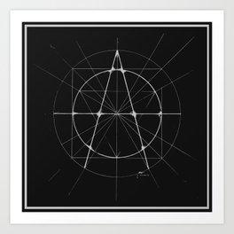 XXIst Century Anarchy Monochrome Art Print