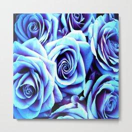 Bright Blue Flowers Metal Print