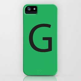 Letter G Initial Monogram - Black on Nephritis iPhone Case