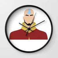aang Wall Clocks featuring AANG by Danielle Ebro