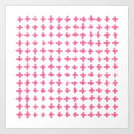 Minimalist Brush Stroke Plus Sign Pink Art Print