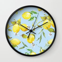 Watercolor lemons 10 Wall Clock