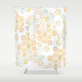Bee and honeycomb watercolor Shower Curtain