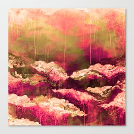 IT'S A ROSE COLORED LIFE 2 - Colorful Floral Garden Chic Abstract Pink White Olive Green Painting Canvas Print