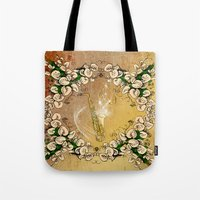 saxophone Tote Bags featuring Saxophone with flowers by nicky2342