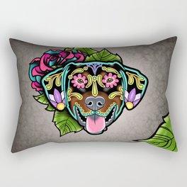 Doberman with Floppy Ears - Day of the Dead Sugar Skull Dog Rectangular Pillow