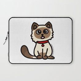 Cute Cat Peek a Boo Says, Stay At Home - Hey you, Stay Home - Siamese Birman Cat - mydoodlesateme Laptop Sleeve