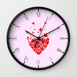 Flyaway Love Hearts Wall Clock