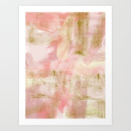Rustic Gold and Pink Abstract Art Print
