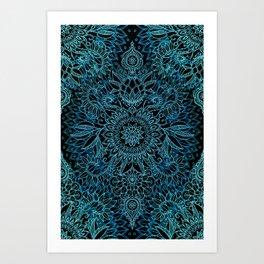 Black & Aqua Protea Doodle Pattern Art Print