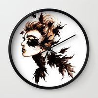 crow Wall Clocks featuring Crow by Nora Bisi