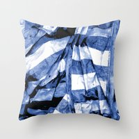 bands Throw Pillows featuring Blue Bands by Motif Mondial