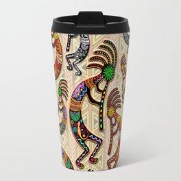 Kokopelli Rainbow Colors on Tribal Pattern  Travel Mug