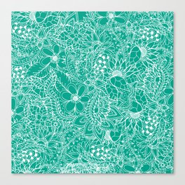 Modern trendy white floral lace hand drawn pattern on emerald green Canvas Print