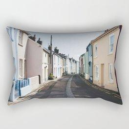 Colourful terrace houses in Devon, UK. Rectangular Pillow