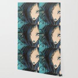 My Mermaid. Original Painting by Jodilynpaintings. Figurative Abstract Pop Art. Wallpaper