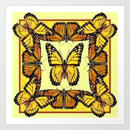 YELLOW & ORANGE MONARCH BUTTERFLIES PATTERNED ART Art Print