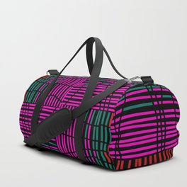 Red, Teal and Pink Vein Line Art on Black Duffle Bag