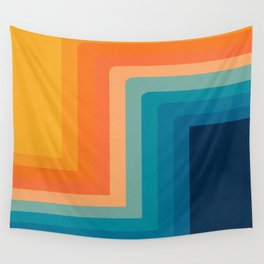 Retro 70s Color Lines Wall Tapestry