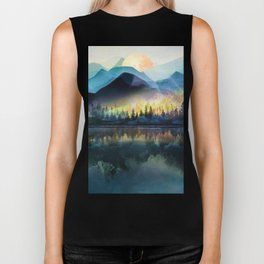 Mountain Lake Under Sunrise Biker Tank