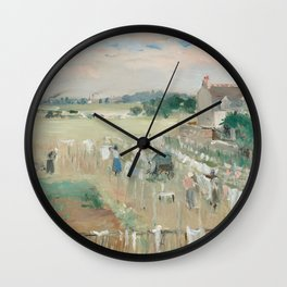 Hanging the Laundry out to Dry by Berthe Morisot Wall Clock